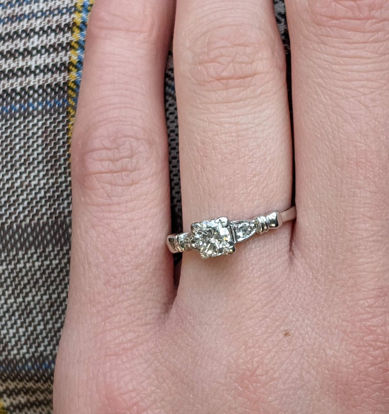 Women's or Men's Midcentury Platinum Diamond Engraved Engagement Ring For Sale