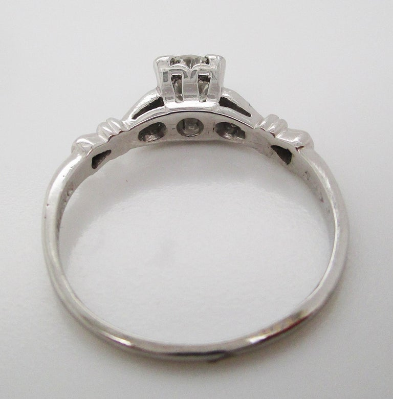 Midcentury Platinum Diamond Engraved Engagement Ring For Sale 2