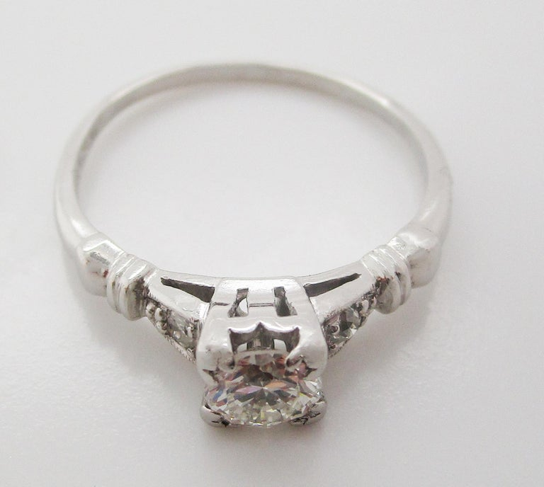 Midcentury Platinum Diamond Engraved Engagement Ring For Sale 3