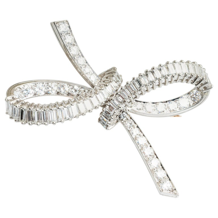 Midcentury Platinum RBC & Baguette Diamond Bow Brooch For Sale