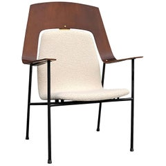 Midcentury Plywood and Cream White Armchair Attributed Robin Day, UK, 1960s