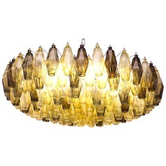 Mid-century Poliedri Chandelier, Deep Amber with Tobacco Accents, Murano made