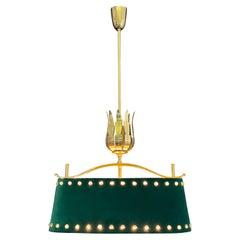Mid-Century Polished Brass and Green Felt Pendant Light, circa 1950s