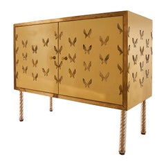 Mid-Century Polished Brass Cabinet with Butterfly Appliques and Brass Legs