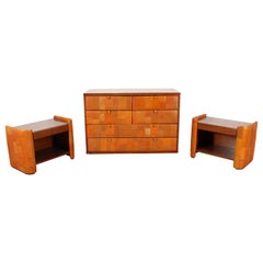 Midcentury Poltrona Frau Wood and Leather Commode and Nightstands, 1960s, Italy