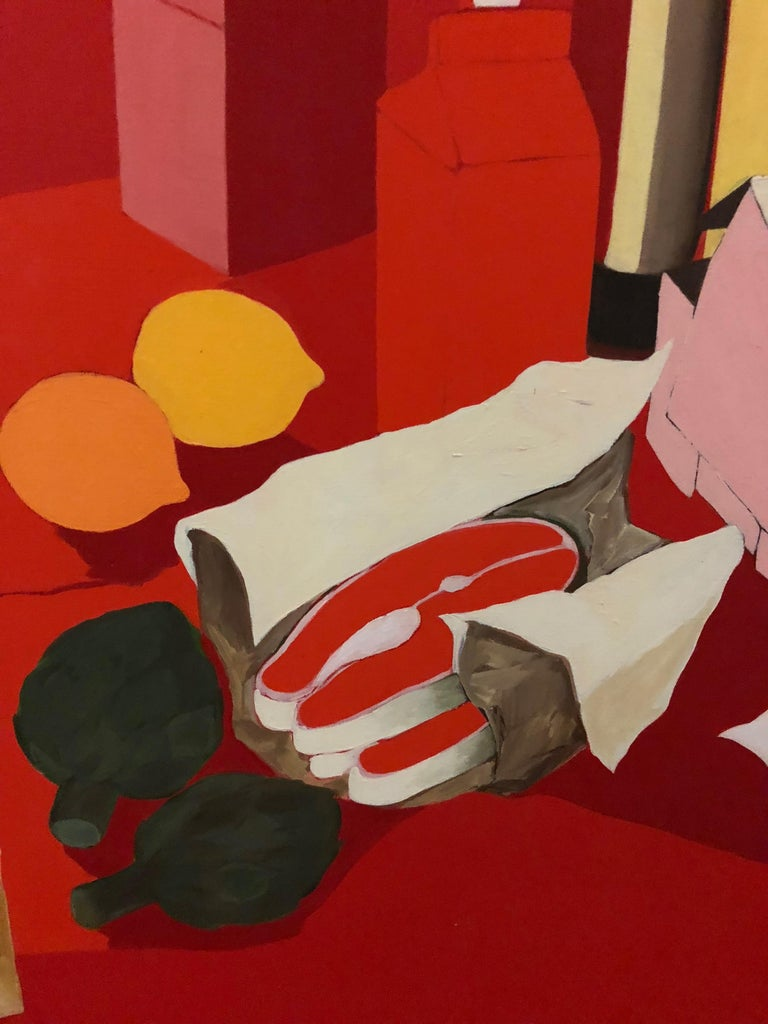 Mid-Century Modern Midcentury Pop Art Oil Still-Life Painting Salvatore Grippi Red Salmon Banana For Sale