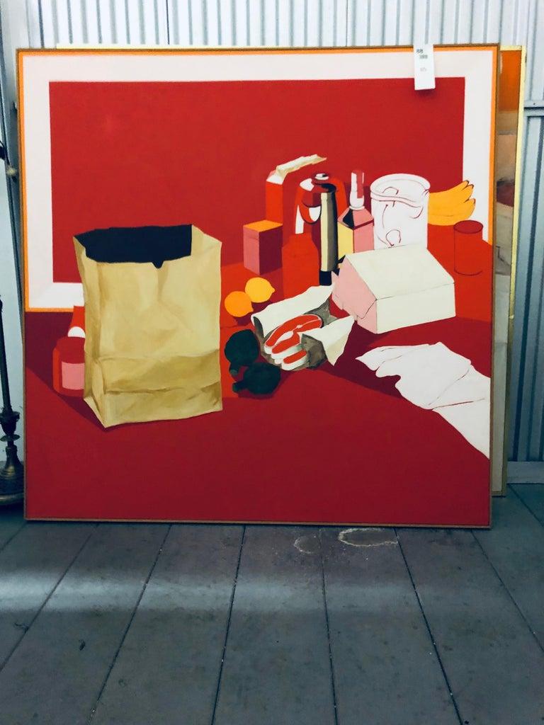 American Midcentury Pop Art Oil Still-Life Painting Salvatore Grippi Red Salmon Banana For Sale
