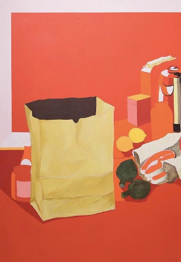 20th Century Midcentury Pop Art Oil Still-Life Painting Salvatore Grippi Red Salmon Banana For Sale