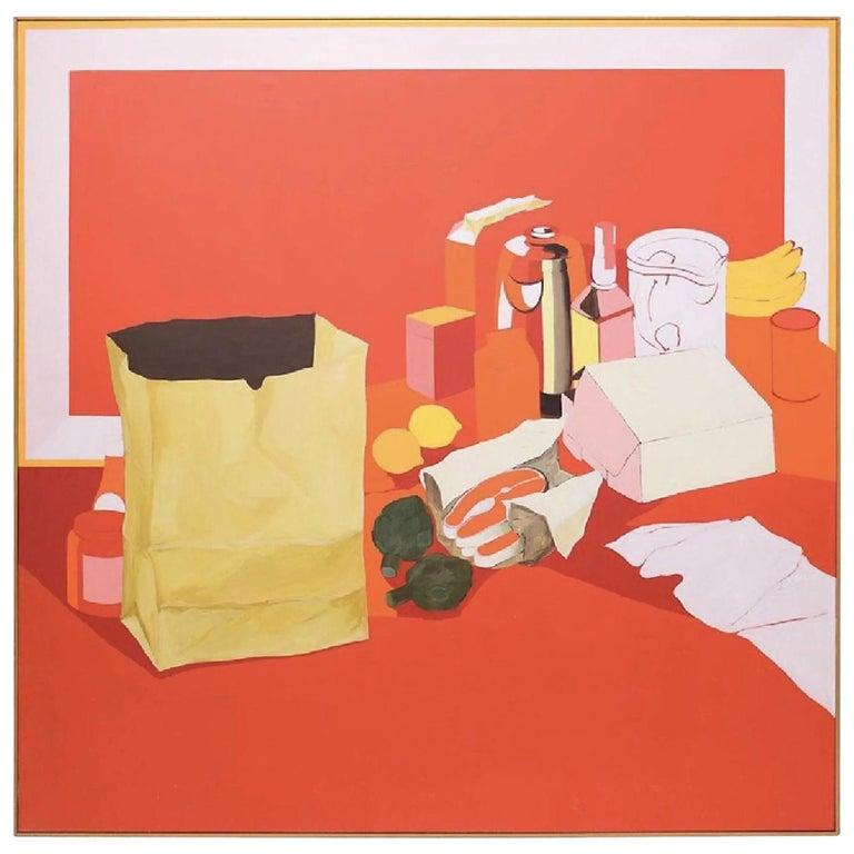 Midcentury Pop Art Oil Still-Life Painting Salvatore Grippi Red Salmon Banana For Sale
