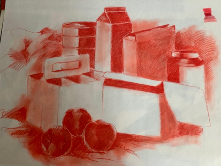 American Mid-century Pop Art Red Still Life Drawing Sketch by Salvatore Grippi, 1960s Mod For Sale
