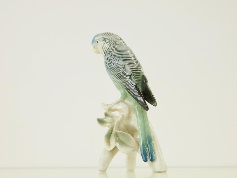 Midcentury Porcelain Figurine Depicting a Parrot by Porzellanfabrik Karl Ens For Sale 6