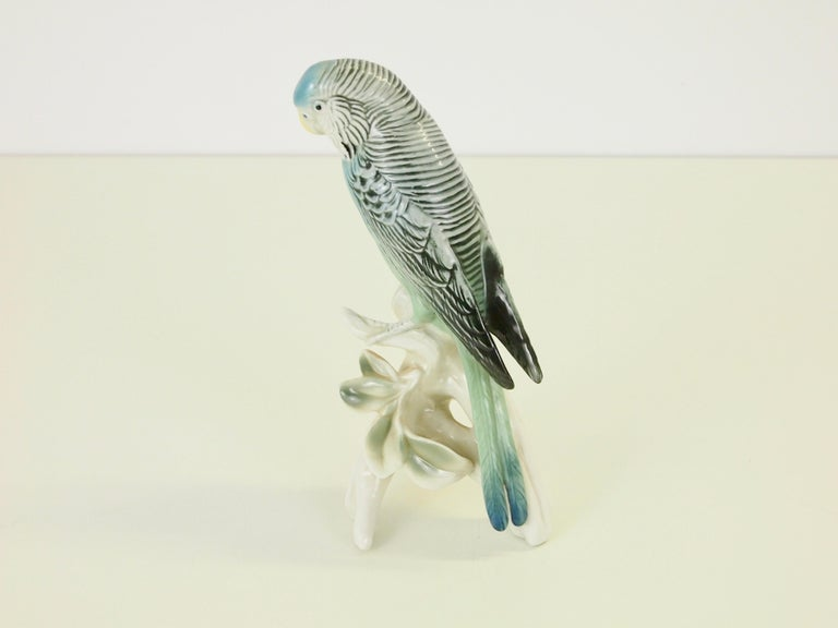 Mid-20th Century Midcentury Porcelain Figurine Depicting a Parrot by Porzellanfabrik Karl Ens For Sale