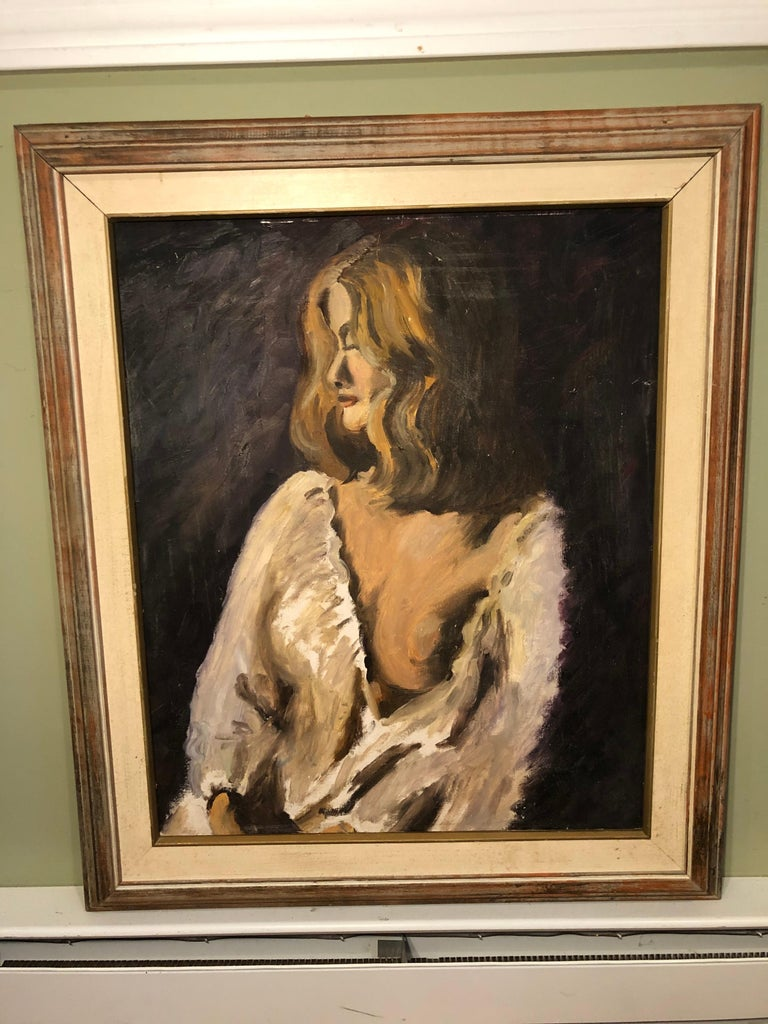 Midcentury portrait of a woman. Oil on board with linen mat and wooden frame. Deep colors abound this quiet portraiture. The softness of the open blouse and the shy demure of the woman suggest a soft sexiness. Unsigned.