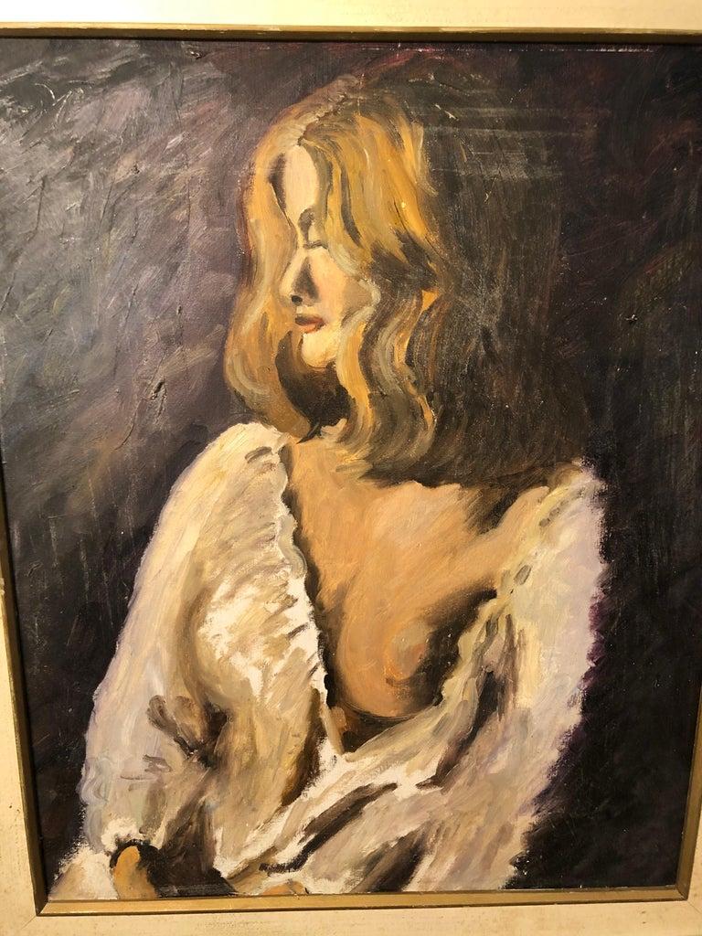 Canvas Midcentury Portrait of a Woman For Sale