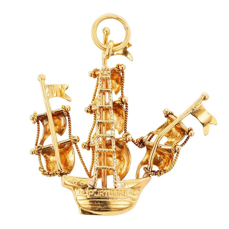 Midcentury Portuguese Enamel Gold Galleon Ship Charm In Good Condition For Sale In Los Angeles, CA