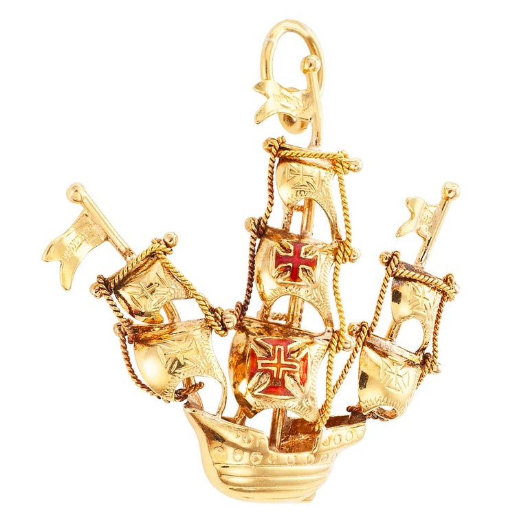 Midcentury Portuguese Enamel Gold Galleon Ship Charm For Sale