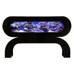 Midcentury Postmodern Black Acrylic / Lucite Aquarium or Fish Tank Headboard
