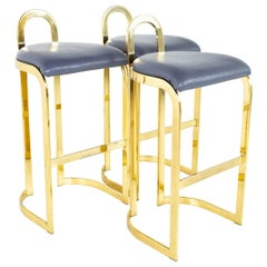 Mid Century Post Modern Brass Bar Stools, Set of 3