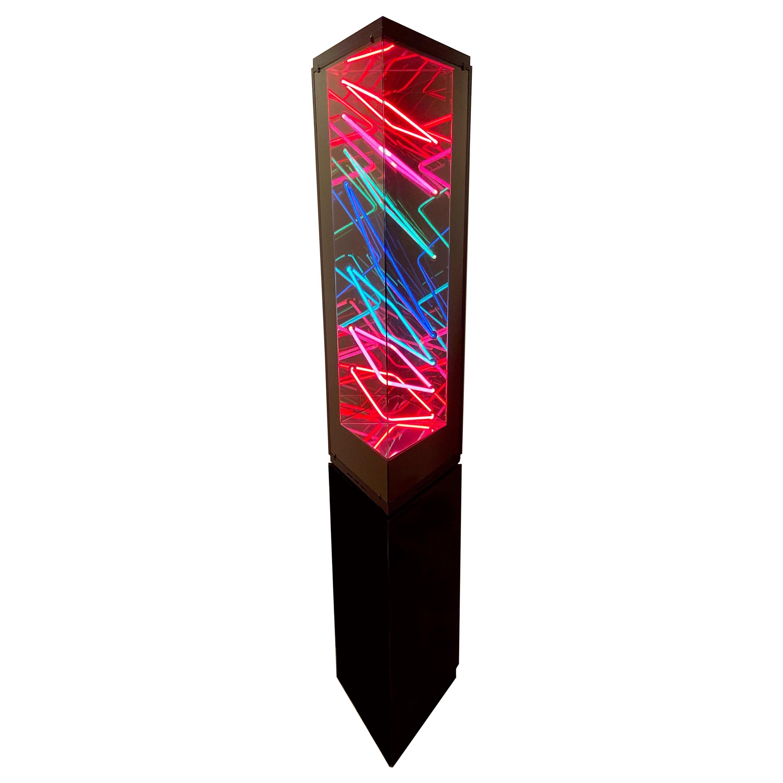 Midcentury Postmodern Optical Neon Floor Lamp Sculpture after Rudi Stern