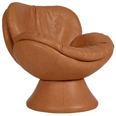 Midcentury Postmodern Italian Cognac Leather Swivel Lounge Chair