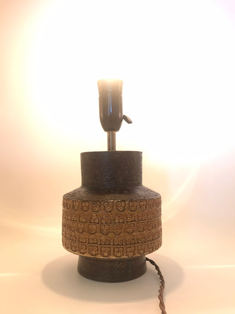 Mid-20th Century Midcentury Pottery Table Lamp Designed by Aldo Londi for Bitossi of Italy For Sale