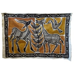 Midcentury Primitive African Wall Hanging Tapestry