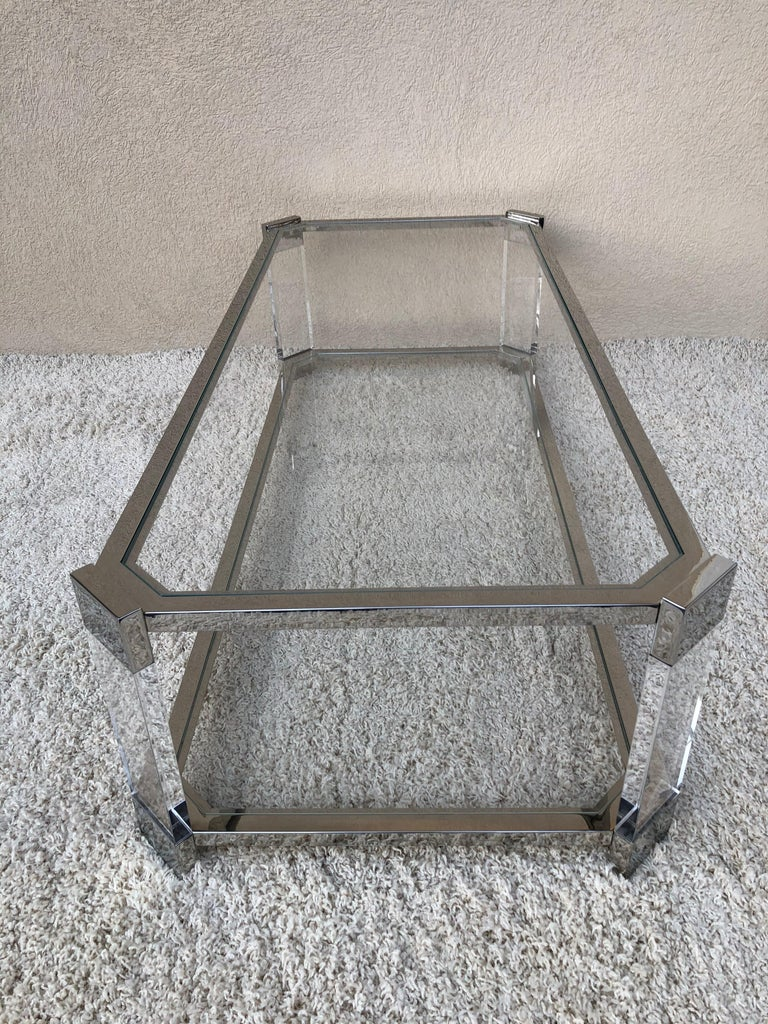 American Mid Century Prismatiques Design Chrome Lucite and Glass Cocktail Table Two Tier For Sale