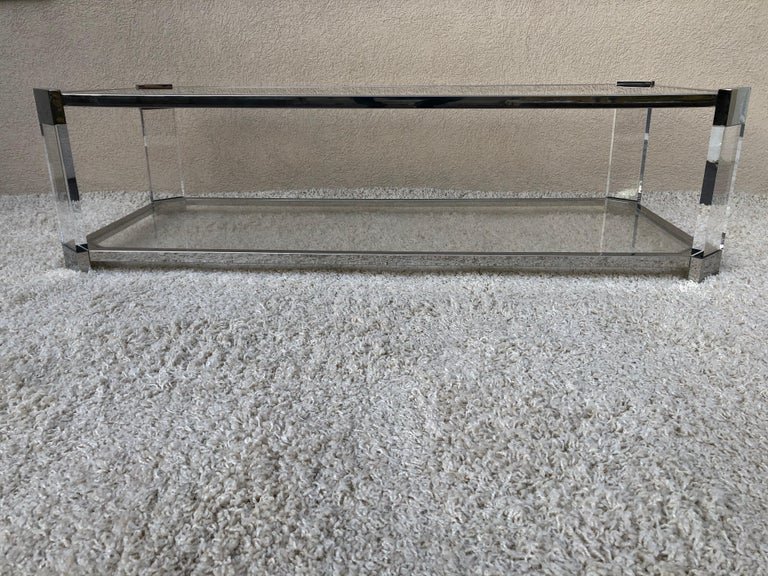Mid Century Prismatiques Design Chrome Lucite and Glass Cocktail Table Two Tier In Excellent Condition For Sale In Westport, CT