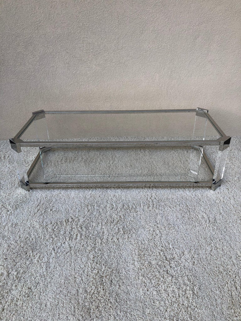 20th Century Mid Century Prismatiques Design Chrome Lucite and Glass Cocktail Table Two Tier For Sale