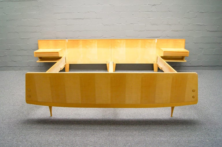 Mid Century Queen Bedwith Floating Nightstands In The