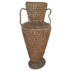 Midcentury Raffia Floor Vase