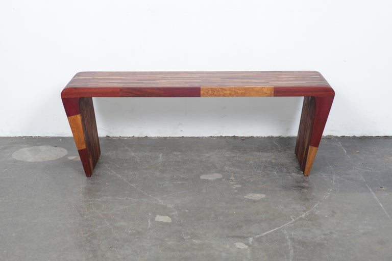 Modern Midcentury Rare Brazilian Solid Wood Console Table by Tunico T For Sale