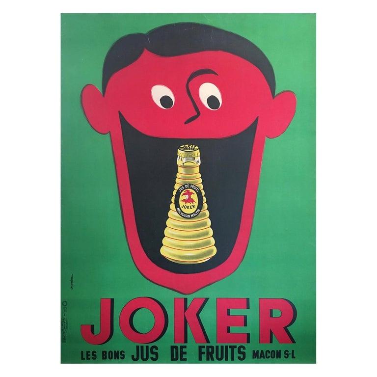 Midcentury Rare French Original Vintage Fruit-Juice Poster, 'Joker', 1957 For Sale