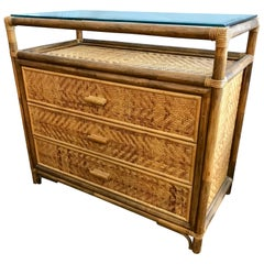 Midcentury Rattan 3-Drawer Chest