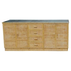 Mid Century Rattan and Bamboo Sideboard, Italy, 1970s