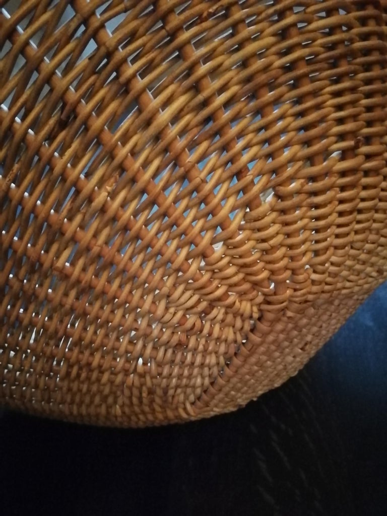 20th Century Midcentury Rattan and Black Original Lounge Chair For Sale