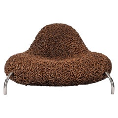 Mid Century Rattan and Chrome Nest Chair
