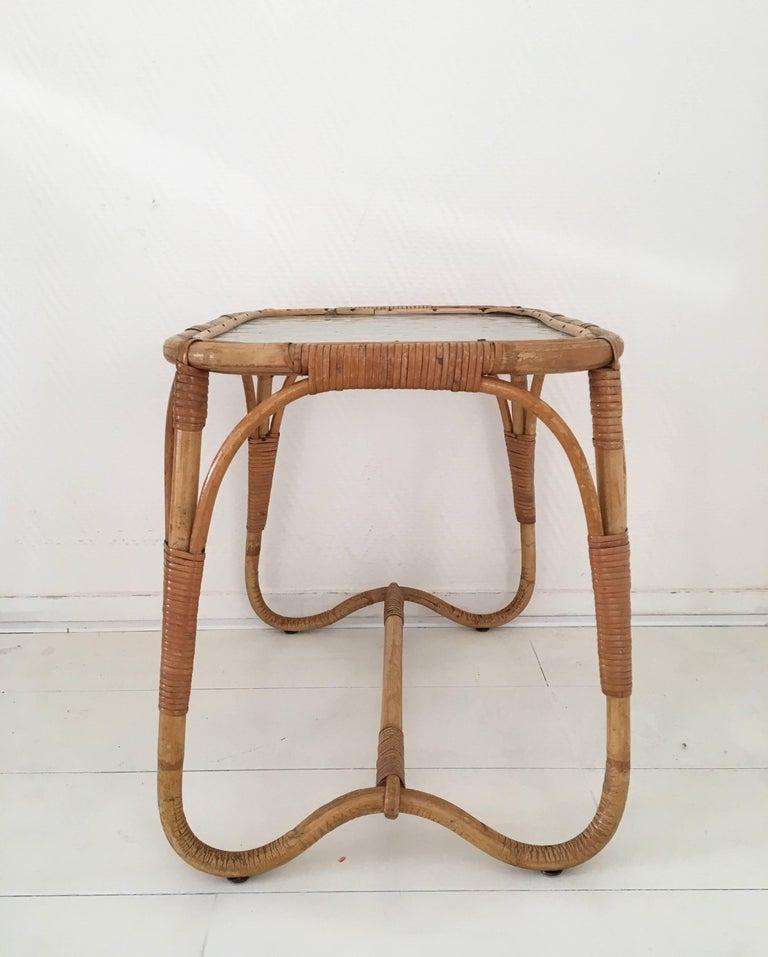 Boho Rattan Coffee Table: Midcentury Rattan And Glass Coffee Or Side Table, Bohemian