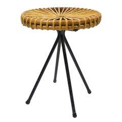 Midcentury Rattan and Metal Stool Designed by Dirk van Sliedregt for Rohé