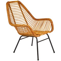 Mid-Century Rattan Armchair with Metal Base from France
