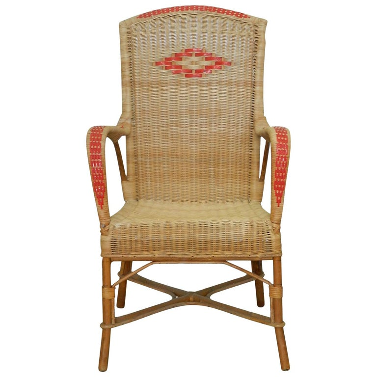 Midcentury Rattan Armchair Woven Wicker Chair French ...