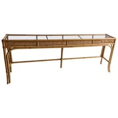 Mid Century Rattan and Bamboo Console Table with Glass Top, Italian, 1970s