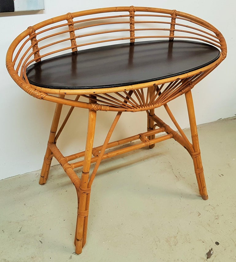 Midcentury Rattan Cane Console Dressing Side Table, France, 1960s For Sale 7