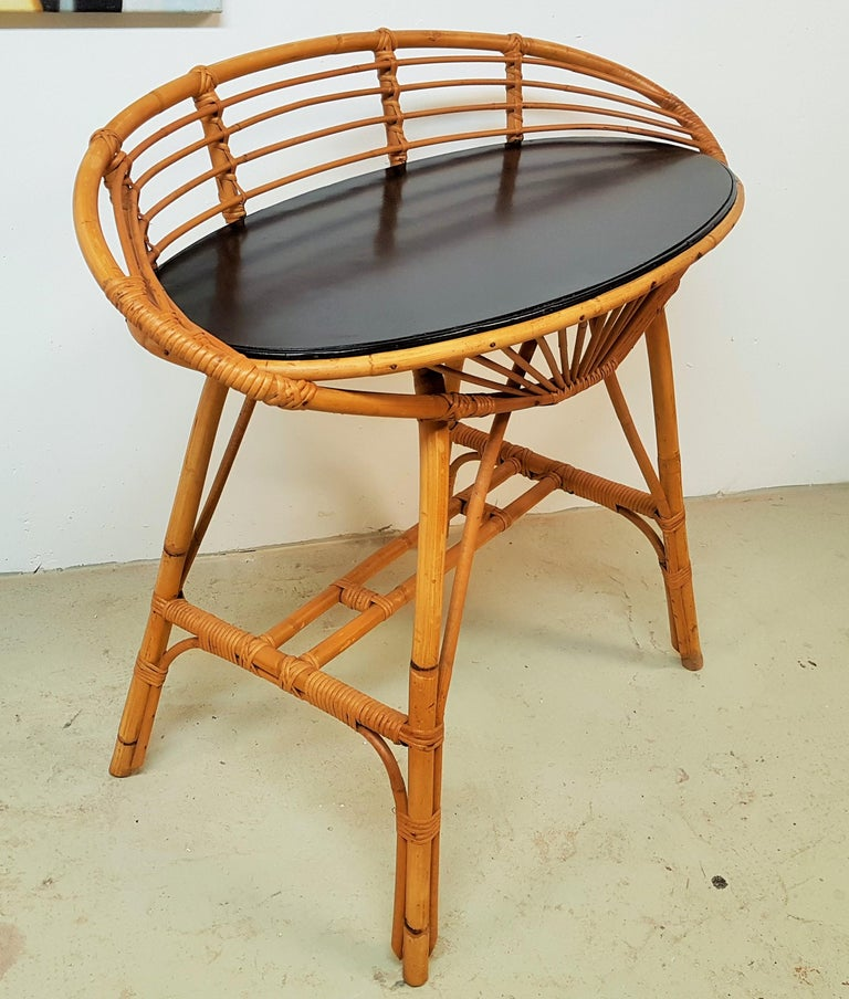 Midcentury Rattan Cane Console Dressing Side Table, France, 1960s For Sale 8
