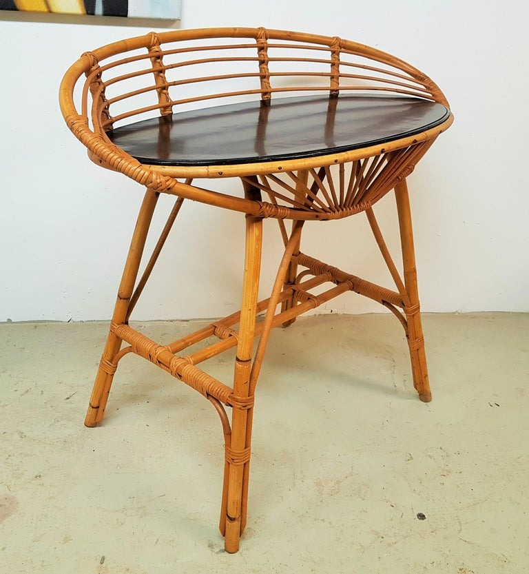 Midcentury rattan cane console dressing side table vanity, France, 1960s.