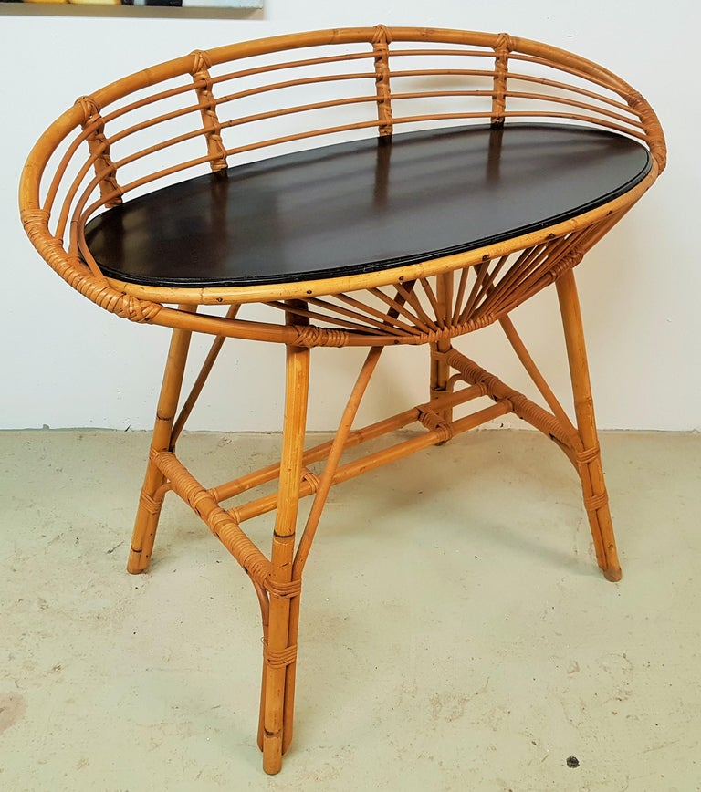 Midcentury Rattan Cane Console Dressing Side Table, France, 1960s For Sale 14