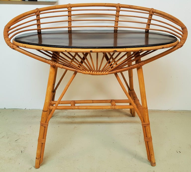 Midcentury Rattan Cane Console Dressing Side Table, France, 1960s In Good Condition For Sale In Saarbruecken, DE