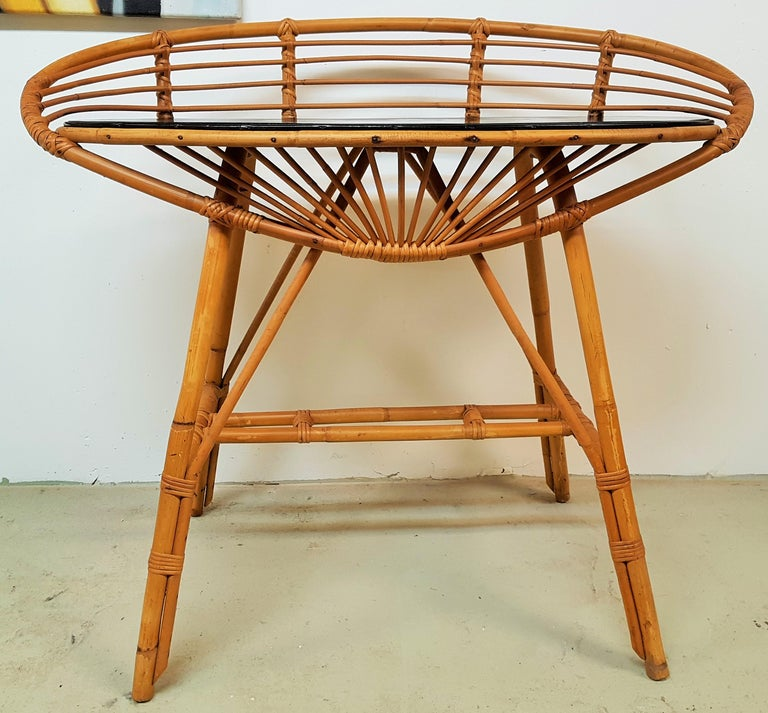 Mid-20th Century Midcentury Rattan Cane Console Dressing Side Table, France, 1960s For Sale