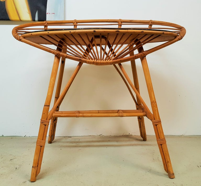Midcentury Rattan Cane Console Dressing Side Table, France, 1960s For Sale 1