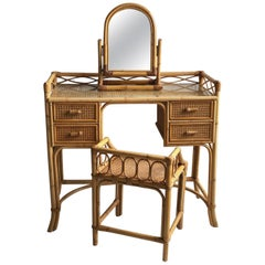 Midcentury Rattan Cane Dressing Table or Desk, Stool and Mirror Set, 1970s
